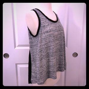 Chloe K ash gray tank with contrast black back